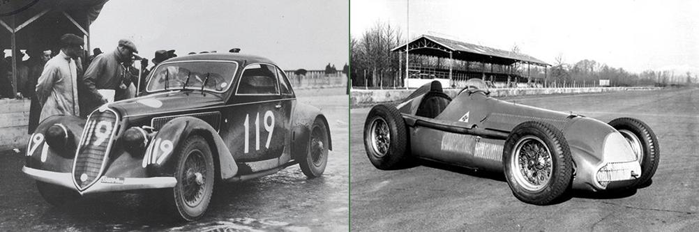 """A sinistra: la 6C 2300 tipo Mille Miglia di Boratto-Guidotti, vincitrice di classe all'edizione del 1937 A destra: la Gran Premio Tipo 158 """"Alfetta"""" all'Autodromo di Monza"""