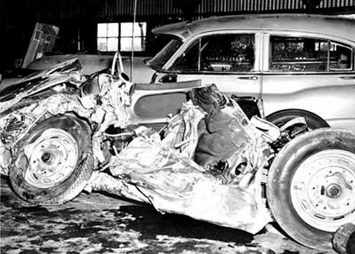 Porsche 550 dopo l'incidente