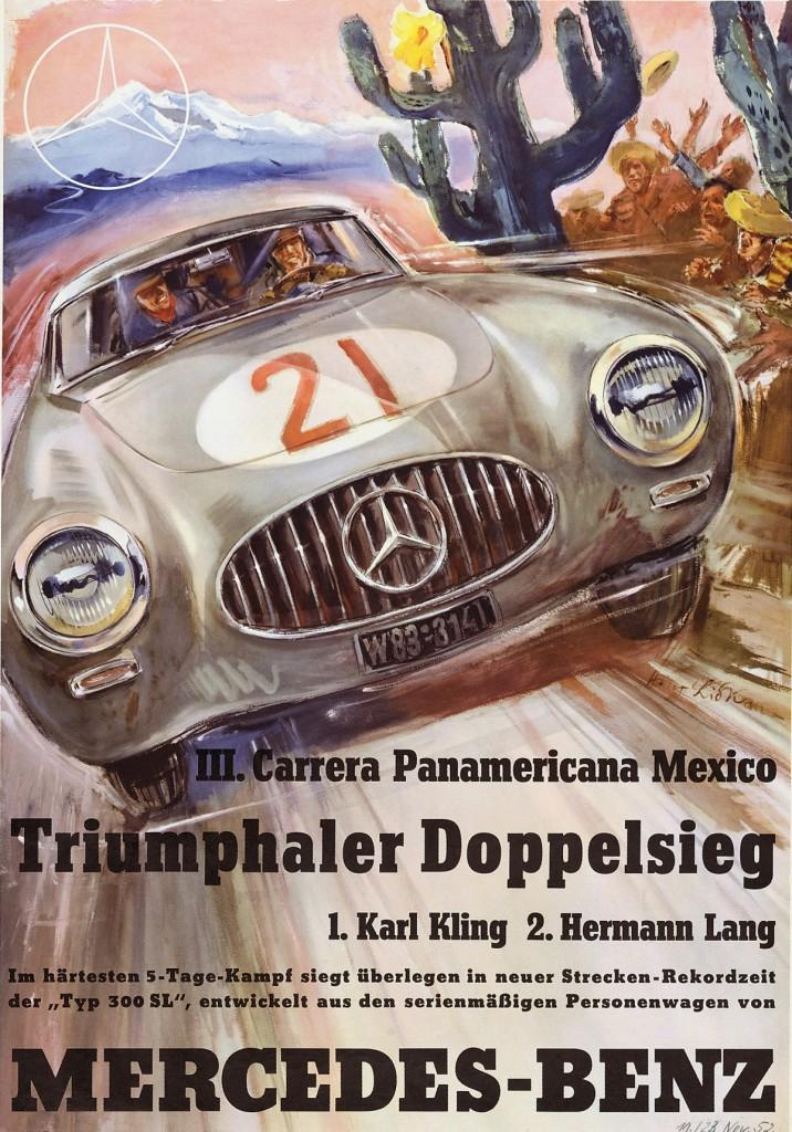 III. Carrera Panamericana in Mexico, 1952. Rennplakat von Hans Liska.