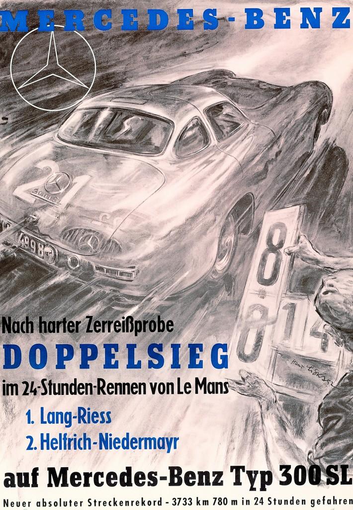 Caption orig.: Die Rennerfolge des 300 SL (W 194) im Jahr 1952 hat der Künstler Hans Liska in faszinierende Rennplakate mit dynamischer Ausstrahlung umgesetzt.