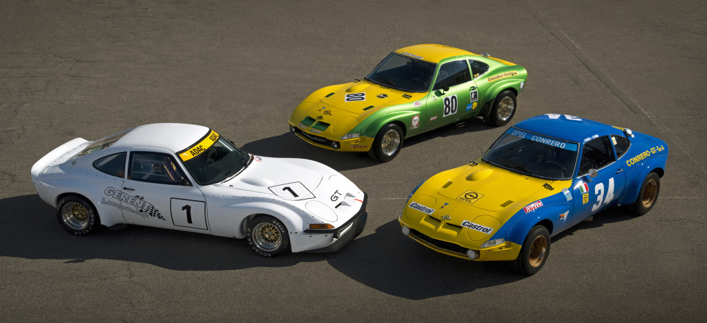 Motorsport heritage: At the Techno Classica Opel will display three GT conversions from tuners Gerent, Irmscher and Conrero (left to right).