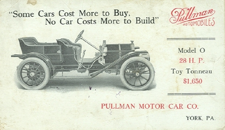 Pubblicità Pullman Automobiles 1910