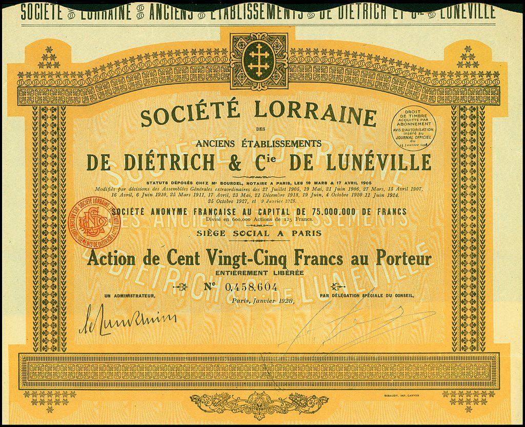 Un foglio azionario della Lorraine-Dietrich (1908)