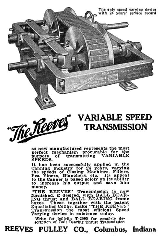 """Una pubblicità del """"motore a trasmissione variabile"""" dei fratelli Reeves"""