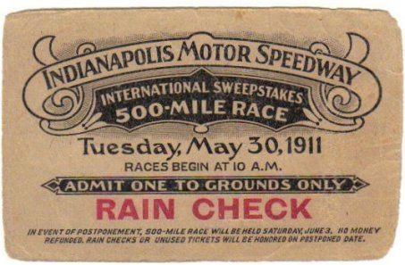"""Il biglietto della """"500 Miglia di Indianapolis"""" 1911"""