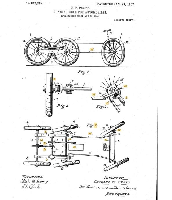 Un estratto del brevetto depositato da Pratt (1907)