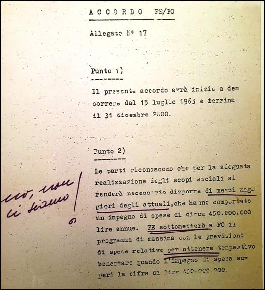 Il famoso Allegato n.17 dell'accordo tra Ferrari e Ford del 1963, mai siglato, con le modifiche del Drake in penna viola.