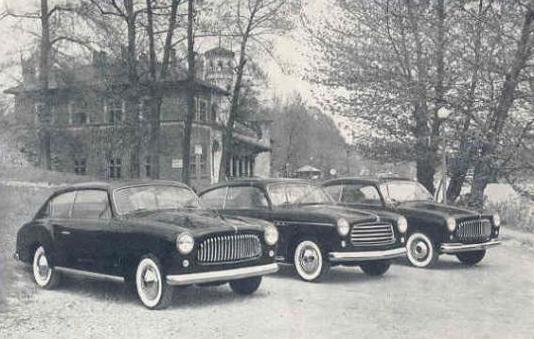 La produzione 1951 della Carrozzeria Accossato. Al centro la berlina Fiat 1400 premiata al Concorso di Eleganza del Pincio di Roma